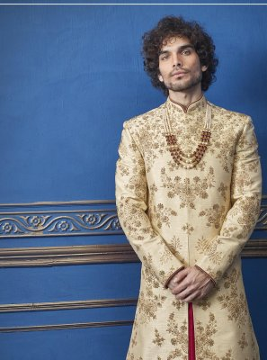 Gold Pure Silk Sherwani