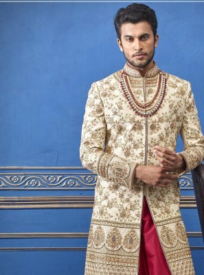 Gold Pure Silk Sherwani