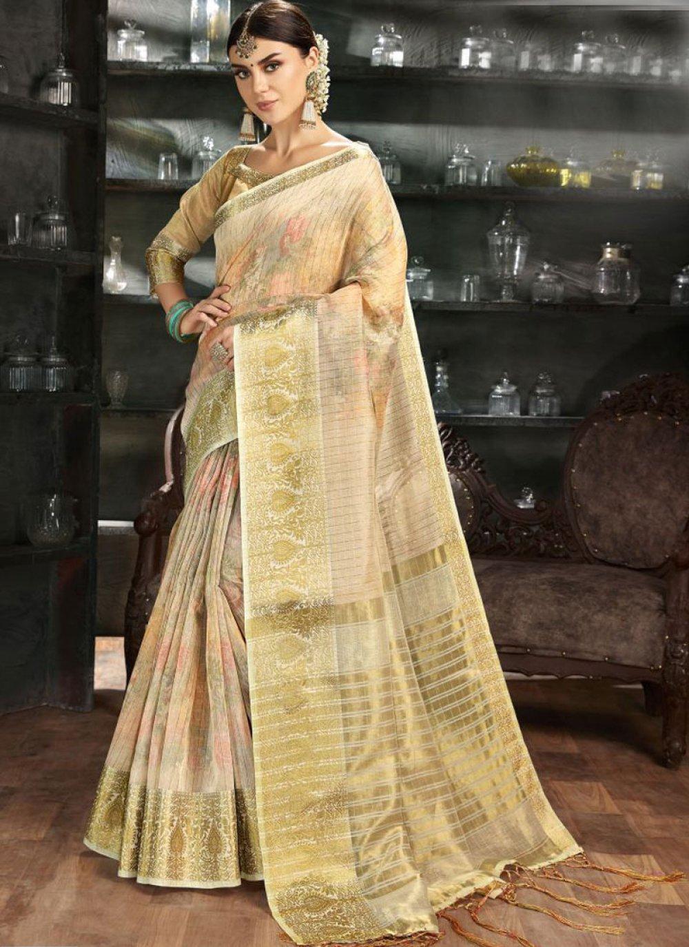 Gold Reception Art Silk Printed Saree