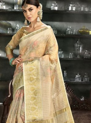 Gold Reception Art Silk Printed Saree