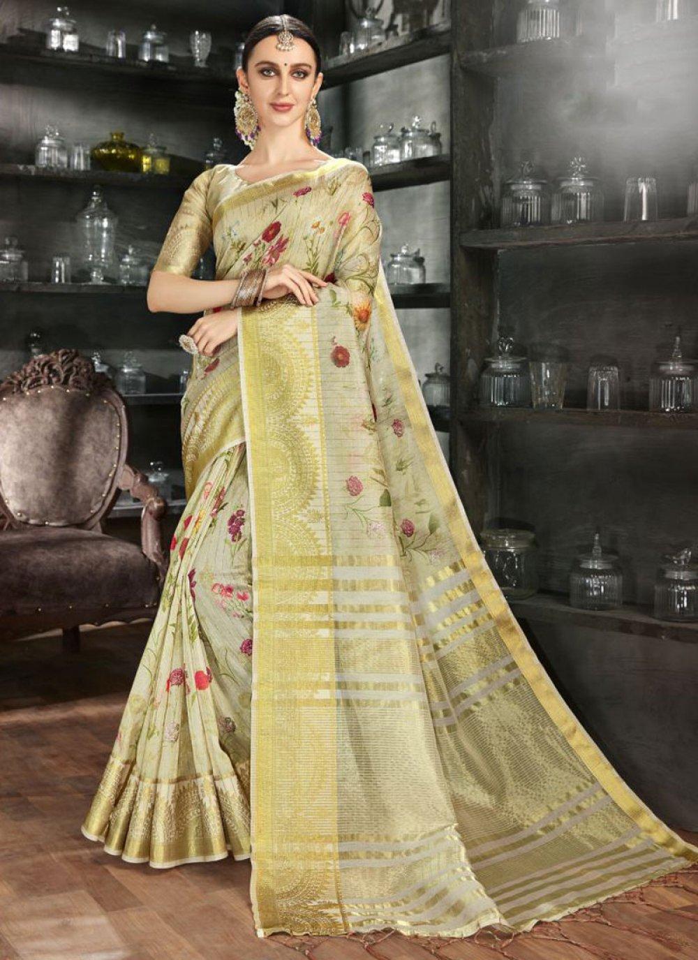 Gold Reception Printed Saree