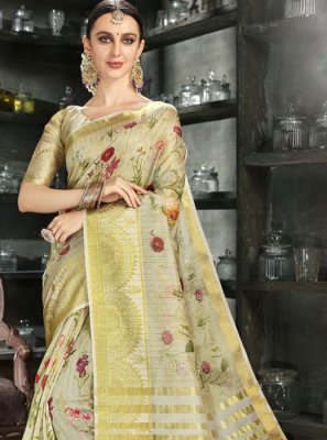 Gold Reception Printed Saree