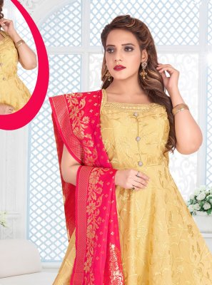 Gold Resham Reception Anarkali Salwar Kameez