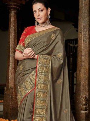 Gold Silk Ceremonial Trendy Saree