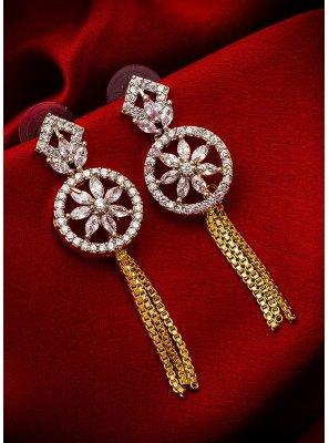 Gold Stone Work Ceremonial Ear Rings