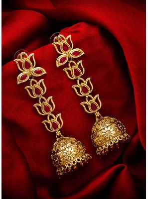 Gold Stone Work Ear Rings