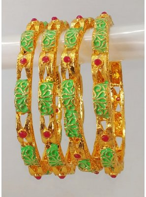 Gold Stone Work Engagement Bangles