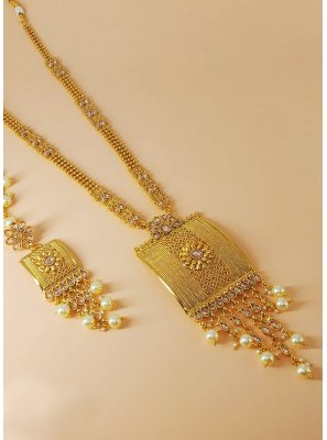 Gold Stone Work Engagement Necklace Set
