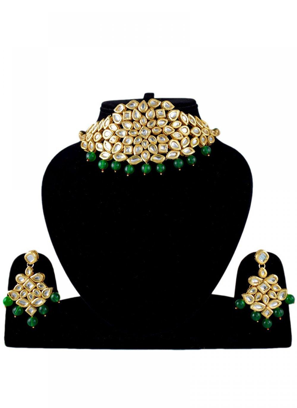 Gold Stone Work Festival Jewellery Set