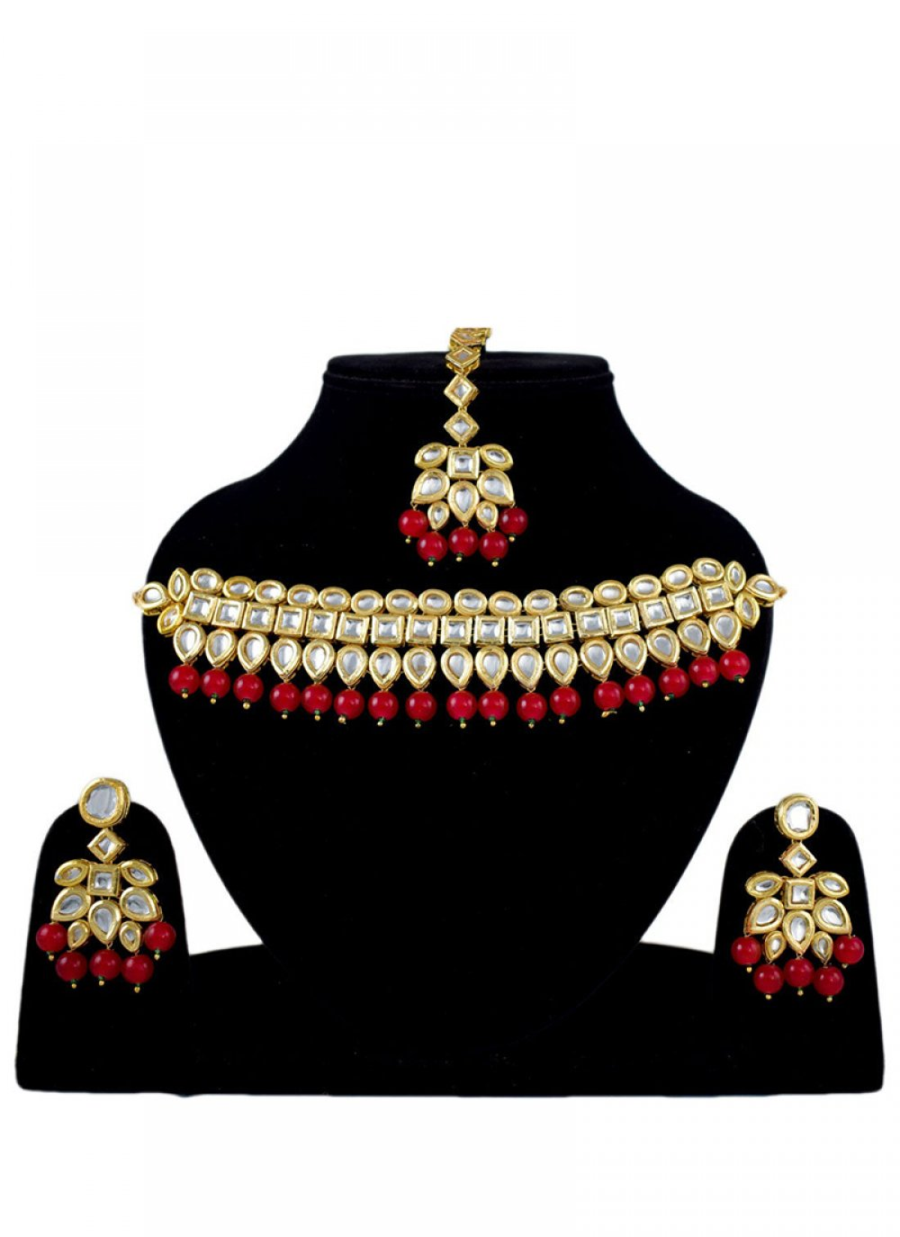 Gold Stone Work Jewellery Set