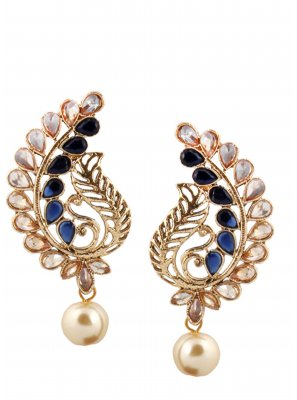 Gold Stone Work Mehndi Ear Rings