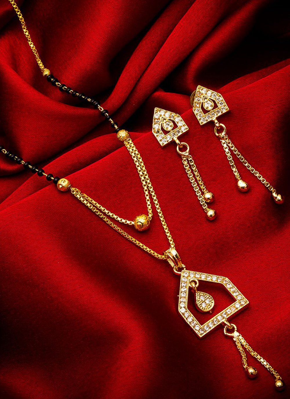 Gold Stone Work Party Mangalsutra
