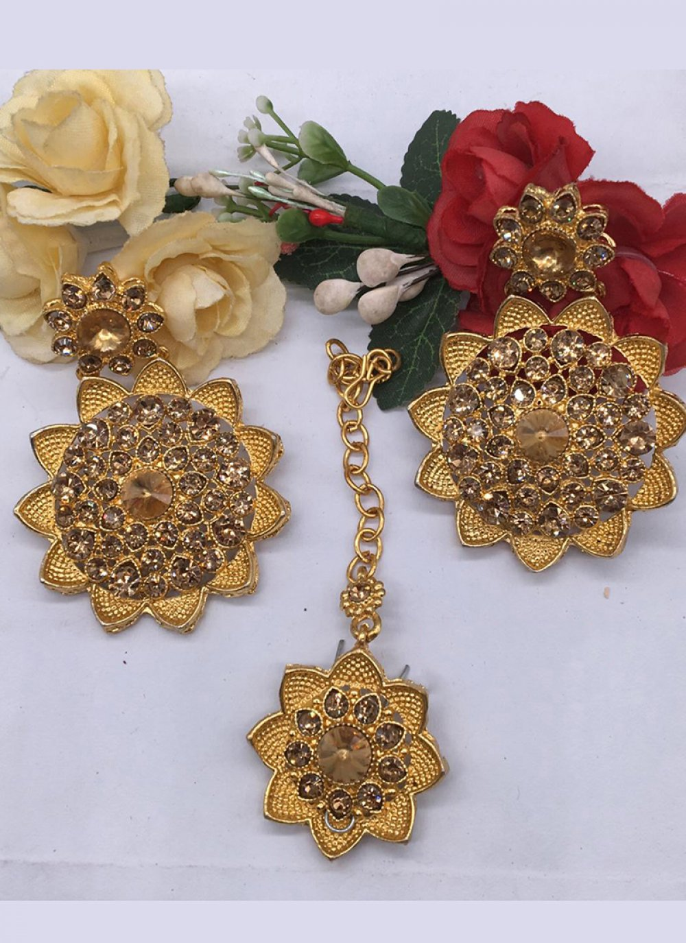 Gold Stone Work Sangeet Ear Rings