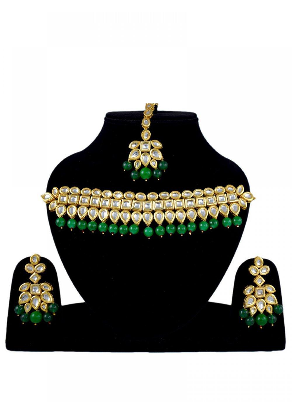 Gold Stone Work Sangeet Jewellery Set