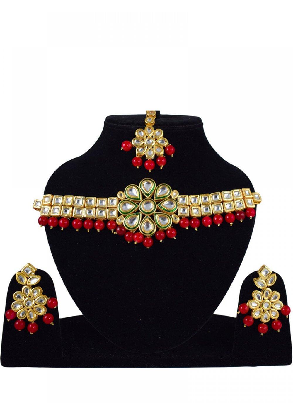 Gold Stone Work Sangeet Necklace Set