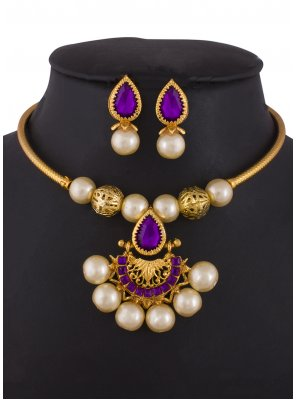 Gold Stone Work Sangeet Necklace Set