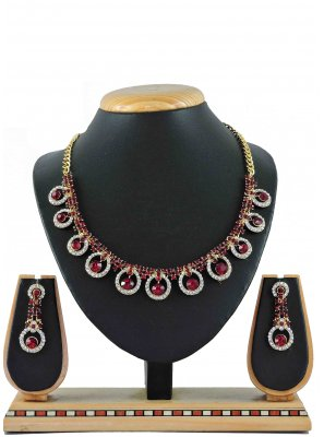 Gold Stone Work Wedding Necklace Set