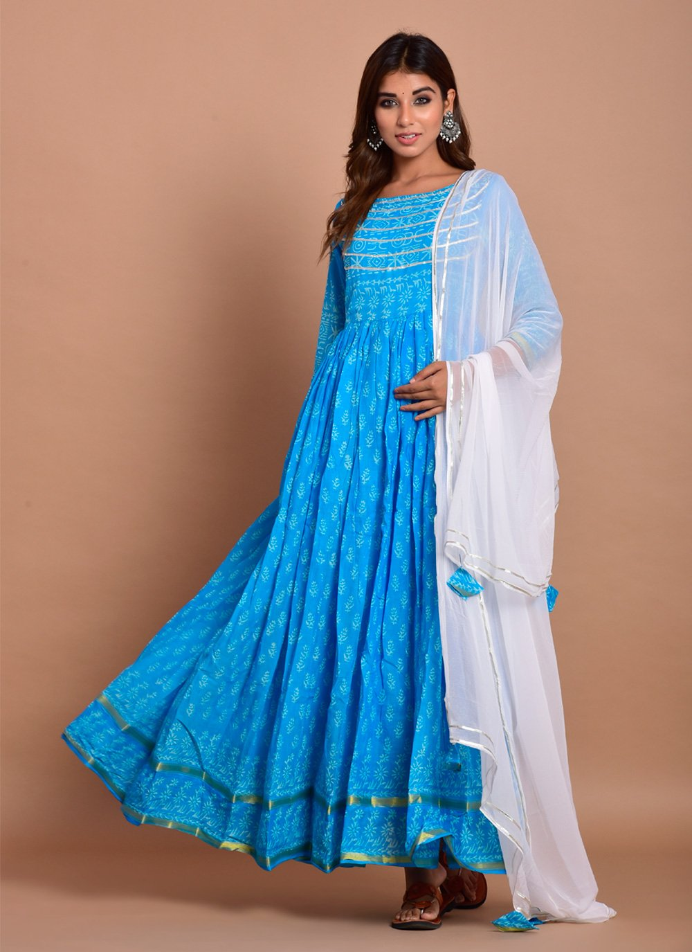 Gown Block Print Cotton in Blue