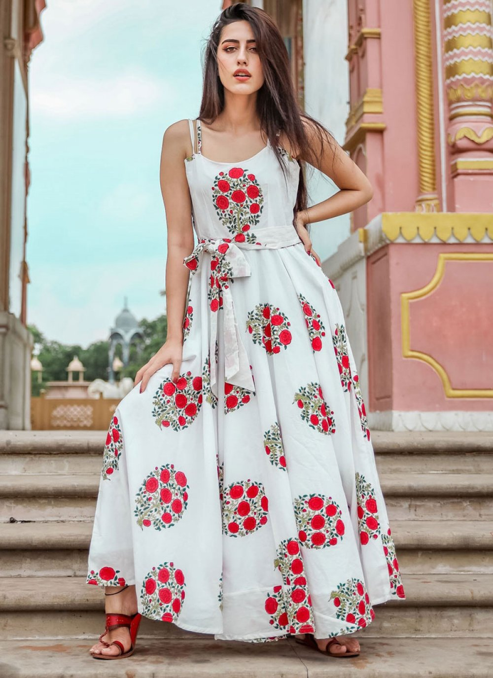 Gown Printed Muslin in White