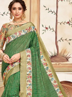 Green Abstract Print Cotton Classic Designer Saree