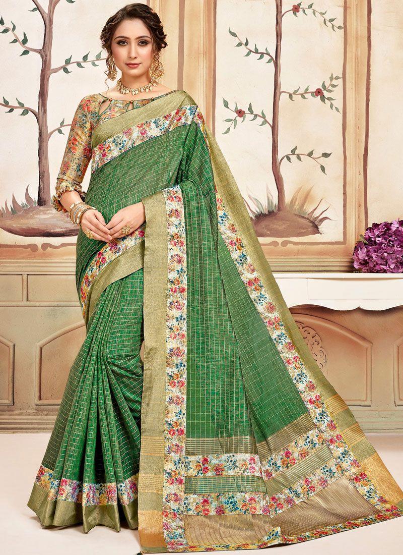 Green Abstract Print Cotton Classic Designer Saree