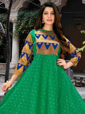 Green Abstract Print Party Wear Kurti