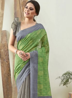 Green and Grey Festival Saree