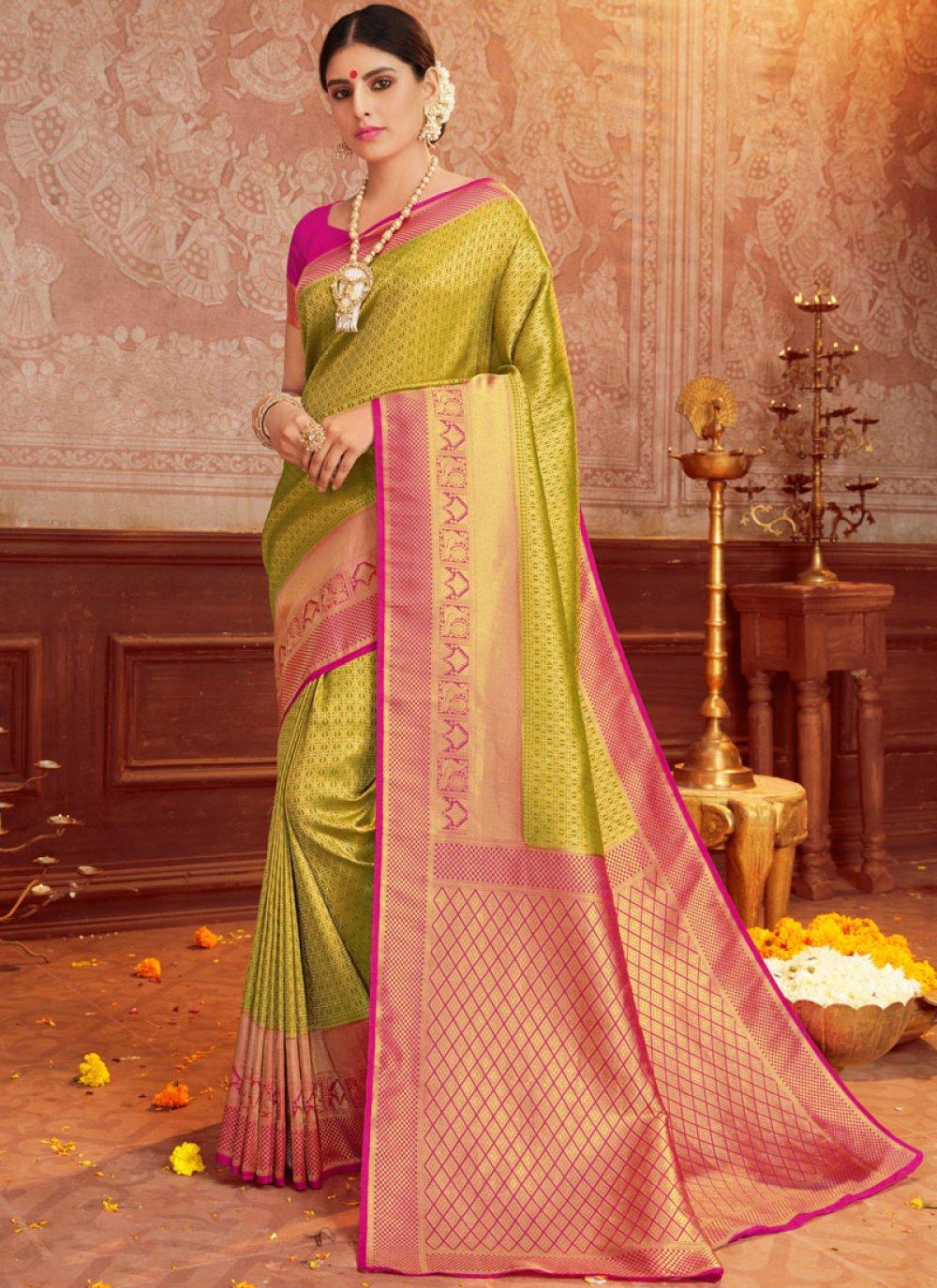Green and Magenta Weaving Trendy Saree