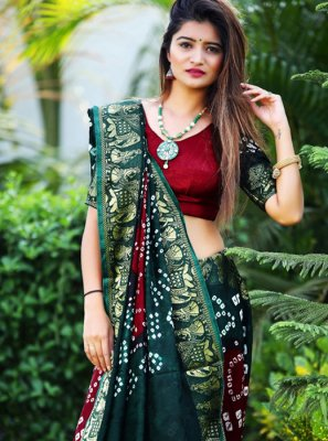 Green and Maroon Art Silk Mehndi Silk Saree