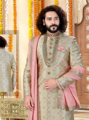 Green and Peach Embroidered Art Banarasi Silk Indo Western