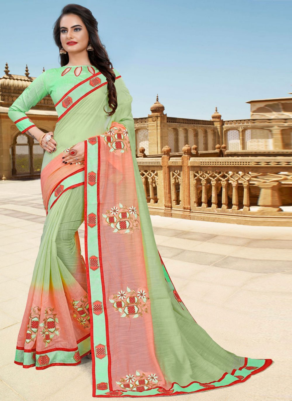 Green and Pink Lace Party Classic Designer Saree