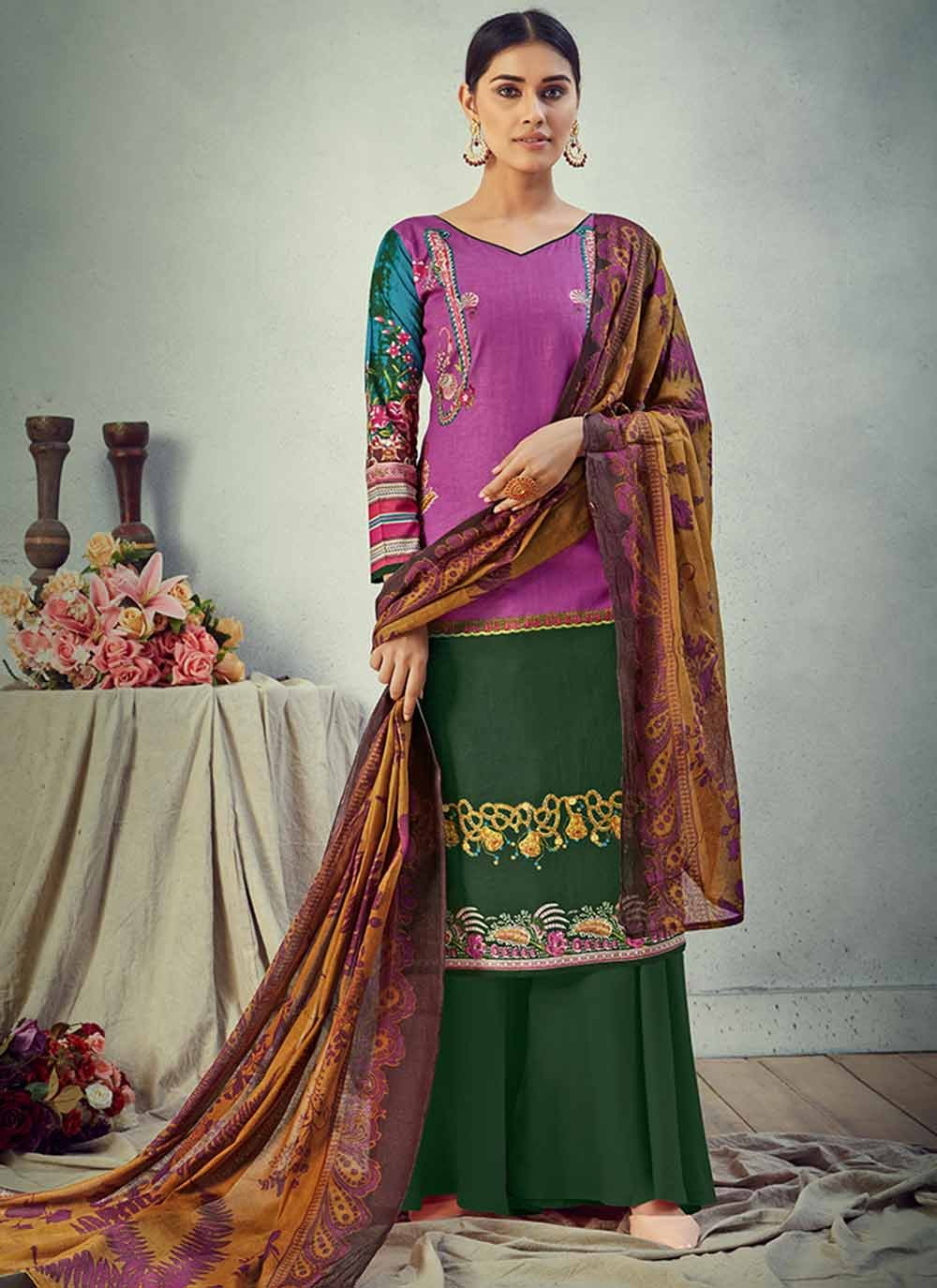 Green and Purple Digital Print Cotton Salwar Kameez