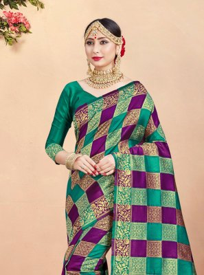 Green and Purple Festival Contemporary Saree