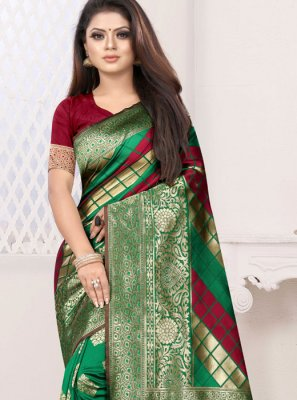 Green and Red Art Silk Half N Half Designer Saree