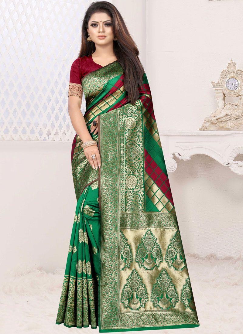 Green and Red Art Silk Half N Half Designer Saree