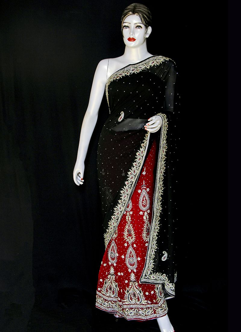 Green and Red Embroidered Festival Designer Saree