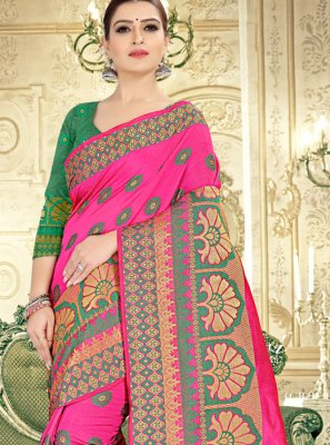 Green and Pink Reception Classic Designer Saree