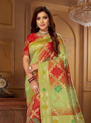Green and Red Weaving Bollywood Saree