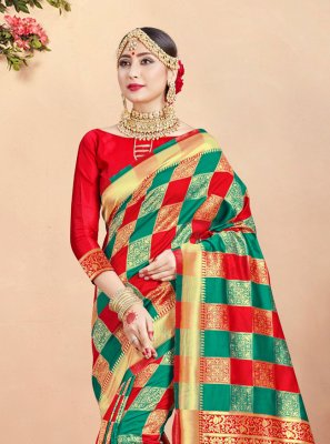 Green and Red Weaving Trendy Saree