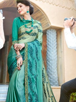 Green and Teal Georgette Resham Half N Half  Saree
