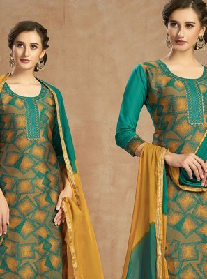 Green and Teal Thread Jacquard Salwar Kameez