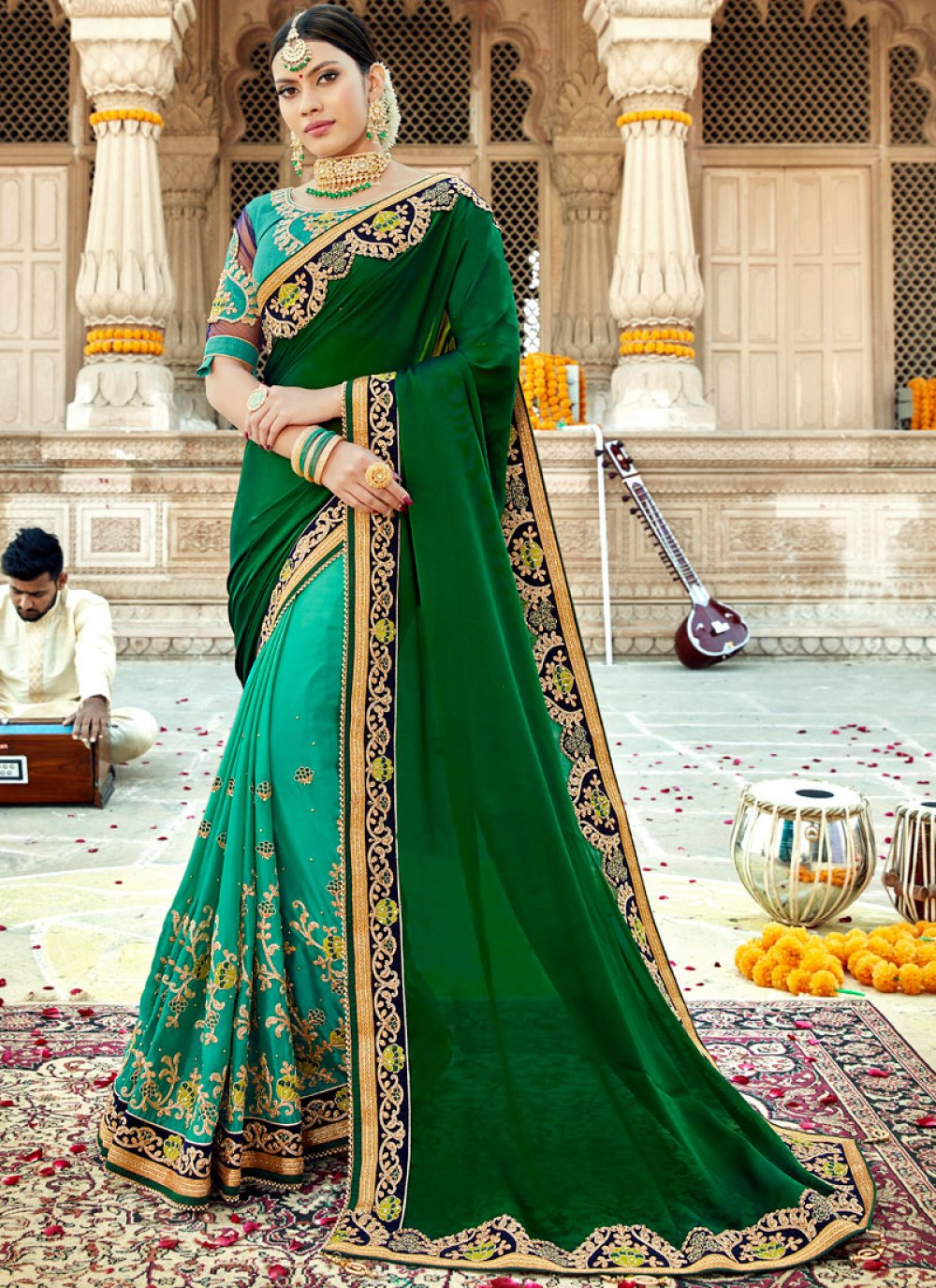 Green and Turquoise Georgette Satin Classic Saree