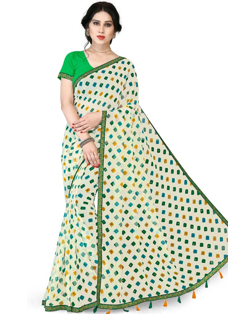 Green and White Printed Casual Saree