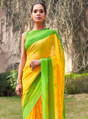 Green and Yellow Mehndi Half N Half  Saree