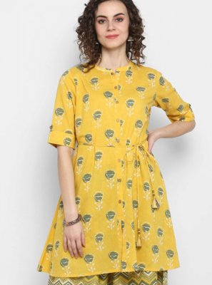 Green and Yellow Printed Party Wear Kurti