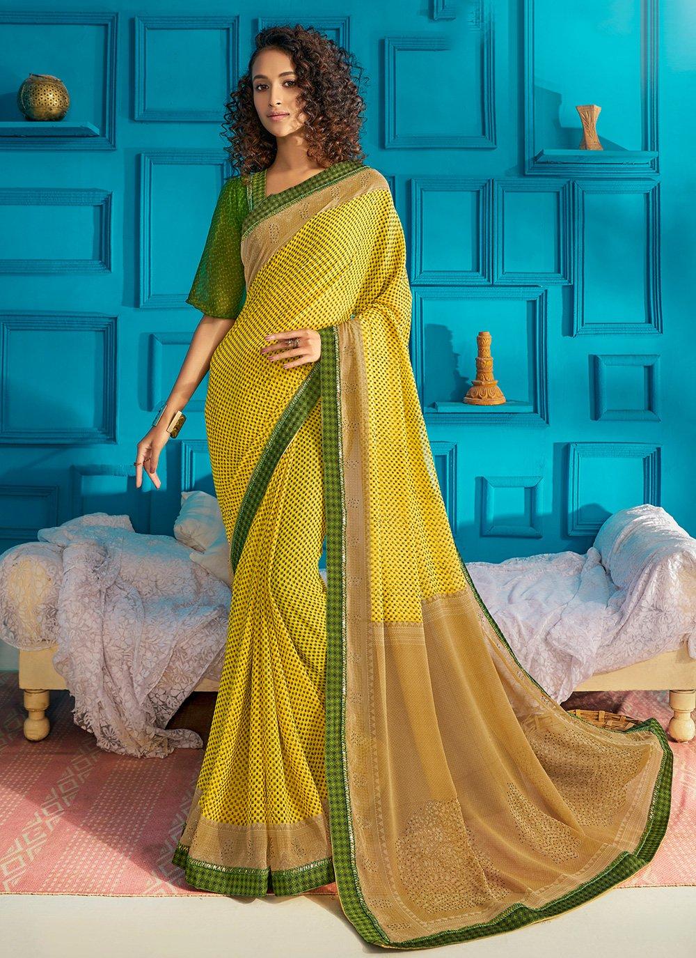 Green and Yellow Swarovski Classic Saree
