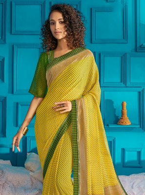 Green and Yellow Swarovski Classic Saree