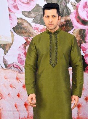 Green Art Banarasi Silk Engagement Kurta Pyjama