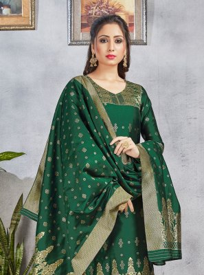 Green Art Banarasi Silk Pant Style Suit