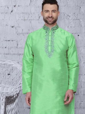 Green Art Dupion Silk Embroidered Kurta Pyjama